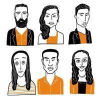 rostos de homens e mulheres com penteados diferentes