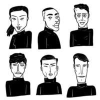 rostos diferentes de humanos em preto e branco vetor