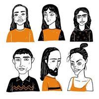 rostos diferentes de mulheres e homens com cabelos longos vetor