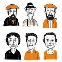 rostos de pessoas em chapéus e sem chapéus vetor