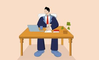 homem de negócios dos desenhos animados, trabalhando no laptop no local de trabalho vetor