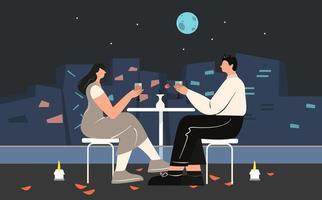 casal bebendo vinho, aproveitando a noite romântica vetor