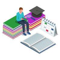 aluno sentado e lendo livros vetor