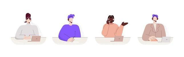 conjunto de trabalhadores de call center colorido mulher vetor