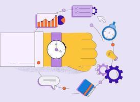 mão de desenhos animados com relógio rodeado por elementos de negócios vetor
