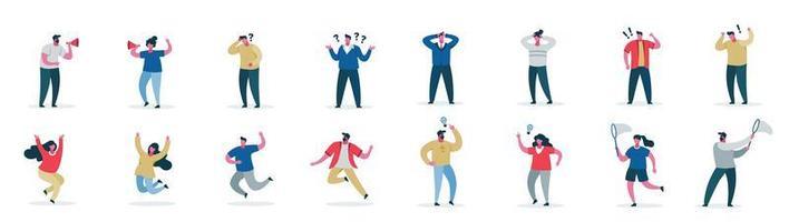 personagens de desenhos animados masculinos e femininos, mostrando emoções diferentes