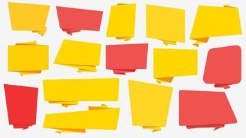 banners web amarelo e vermelho de formas diferentes vetor