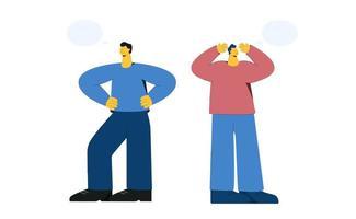 homem confiante e homem infeliz com bolhas do discurso