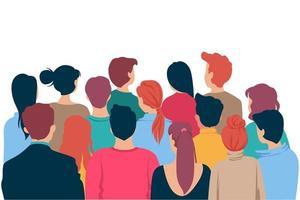vista traseira da multidão de pessoas dos desenhos animados vetor