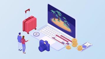 casal escolhe resort no laptop vetor