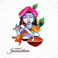 festival hindu de janmashtami celebração cartão vetor
