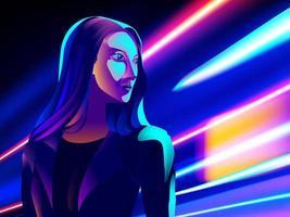 efeito de trilhas de luz cyberpunk em vetor