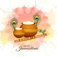 cartão de krishna janmashtami feliz com matki e makhan vetor