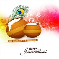 cartão festival janmashtami feliz com design brilhante vetor