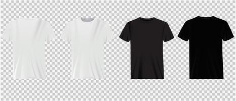 camisetas brancas e pretas sobre transparência