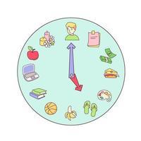 relógio dos desenhos animados com ícones para produtividade