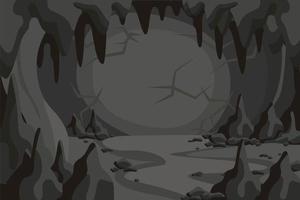paisagem de túnel de caverna de horror dos desenhos animados vetor