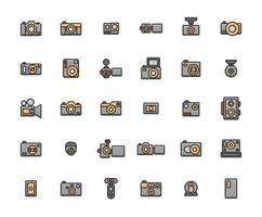 conjunto de ícones de contorno cheio de câmera vetor