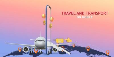 aplicação móvel de viagem e transporte vetor