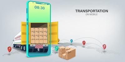 logística transportaion serviço de entrega on-line design vetor