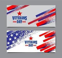 estilo grunge dia dos veteranos eua bandeira banner conjunto