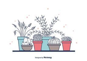 Plantas De Casa Em Potes vetor