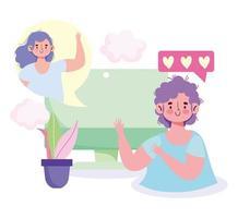 computador de menino e menina falando virtualmente