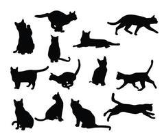 conjunto de silhueta de gato preto vetor
