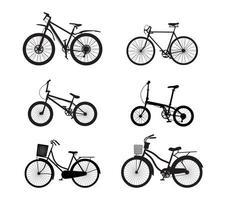 conjunto de silhueta de bicicleta