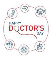 feliz dia do médico cartão com ícones de linha