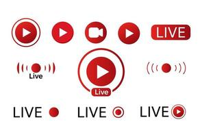 conjunto de ícones de vídeo ao vivo vetor