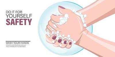 lavar a mão para o modelo de segurança. vetor
