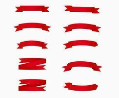 pacote de banners de fita vermelha em branco. vetor