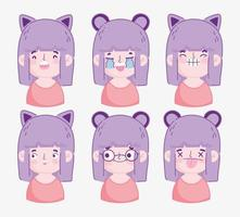 pacote de cabeça de menina dos desenhos animados kawaii vetor