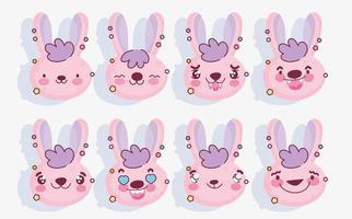 pacote de emoji de coelho rosa vetor