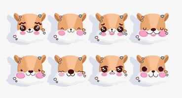 conjunto de emojis de raposa kawaii vetor