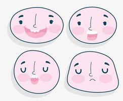 conjunto de emoções de rostos humanos vetor