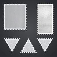conjunto de selos postais em branco isolado