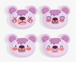 conjunto de emoji urso violeta kawaii vetor