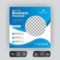 modelo de banner de publicação de mídia social quadrada de negócios vetor