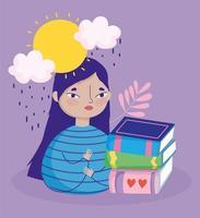 menina com uma pilha de livros na chuva vetor
