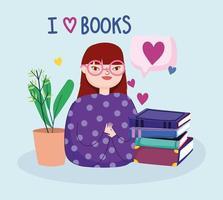 menina com pilha de livros