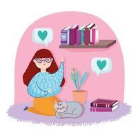 adolescente em uma sala com livros e um gato