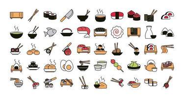 conjunto de ícones de comida oriental de sushi