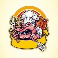 mascote de churrasco de porco vetor