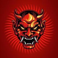 desenho de tatuagem de cabeça de samurai vetor