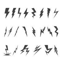 relâmpago ícones com várias formas vetor