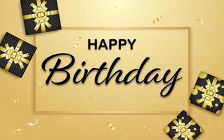 happy birthdayf rame com fita de cor dourada, caixa de presente vetor