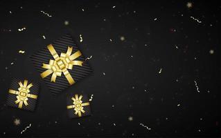 design preto com fita de cor dourada, caixa de presente e espaço para cópia vetor