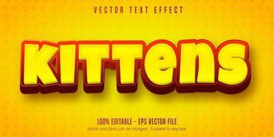 texto de gatinhos amarelos e vermelhos vetor